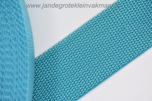 Koppelband, turquoise, 40mm breed, per meter