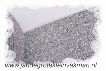 Glitterelastiek, zilver, 60mm breed