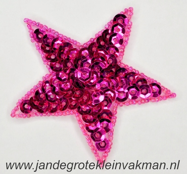 Applicatie ster met pailleten, opnaaibaar, fuchsia. 75mm