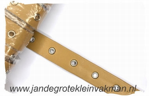 Gaatjesband, kunstleer, 20mm breed, caramel