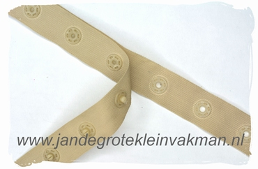 Drukkertjesband, 17mm breed, beige, per meter