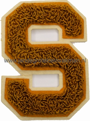 Baseball applicatie, letter S, bruin