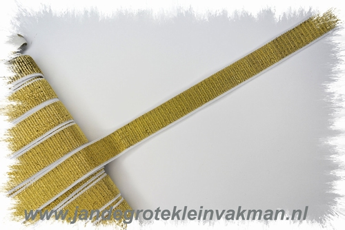 Lurex elastiek 20 mm wit met goud