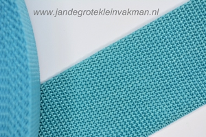 Koppelband, turquoise, 50mm breed, per meter