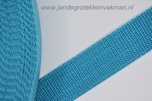 Koppelband, turquoise, 25mm breed, per meter