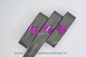 Biasband, katoen, 20mm breed, middengrijs