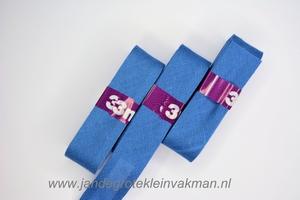 Biasband, katoen, 20mm breed, jeansblauw