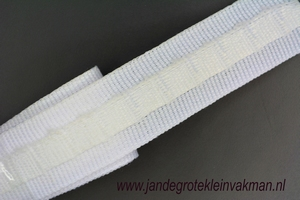 Gordijn plooiband, terlenka, wit, 30mm breed, per mtr