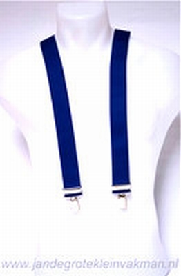 Bretel 35mm breed, effen kobaltblauw