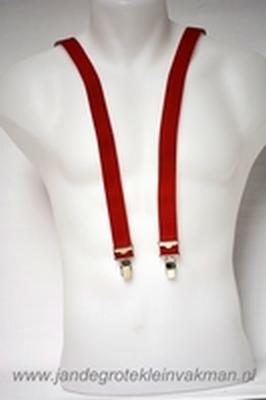 Bretel 25mm breed, volledig dubbele band, rood