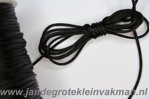 Satijnkoord, kleur 900, 2,5mm rond, per 3 mtr, zwart