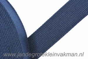Tassenband, marine, zware kwaliteit, 30mm breed, per meter