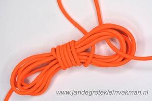 Koordelastiek, 3mm, per meter, fluor-oranje, prijs per meter
