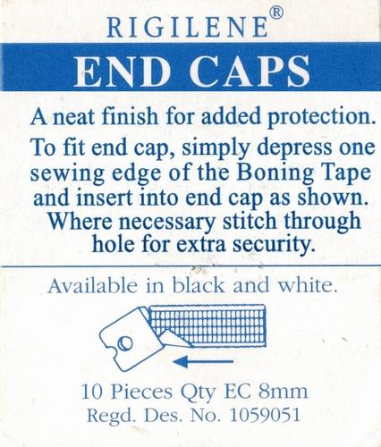 Balein eindkapjes 8mm, wit transparant, 10 stuks