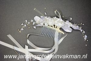 Haarscorsage, wit, basis  ca. 160mm x 50mm