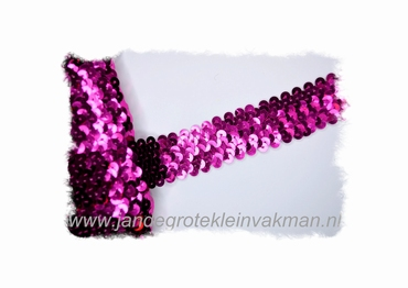 Band (pailletten) elastisch, ca. 30mm breed, cerise