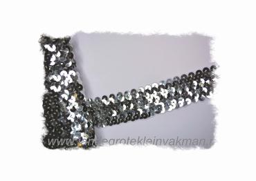 Band (pailletten) elastisch, ca. 30mm breed, zilver