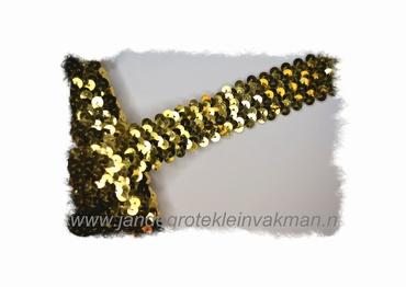 Band (pailletten) elastisch, ca. 30mm breed, goud