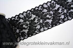 Elastisch kant, zwart, 65mm breed, per meter