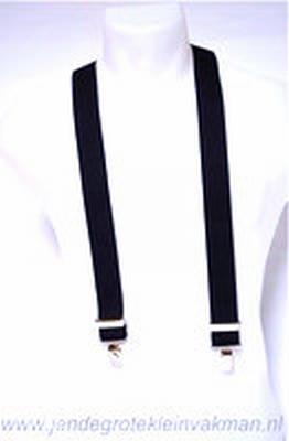 Bretel 35mm breed, volledig dubbele band, zwart