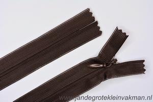 Blinde rits, 50cm, kleur 302, bruin