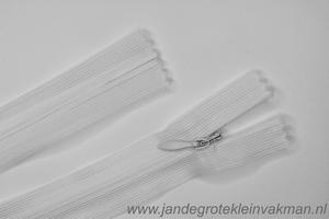 Blinde rits, 60cm, kleur 501 (wit)