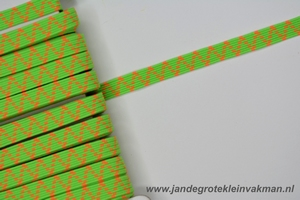 Kledingelastiek, 5mm breed, groen/fluor dessin, per meter