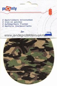 Pronty opstrijkbare kniestukken, camouflage fijn, 2 stuks