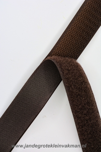 Klittenband YKK, opnaaibaar per meter, 20mm breed, bruin