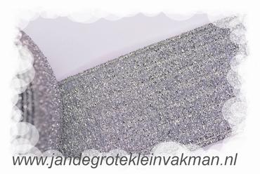 Glitterelastiek, zilver, 60mm breed