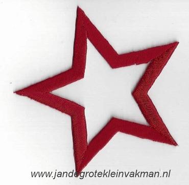 Applicatie ster, optrijkbaar en opnaaibaar, rood. 75mm