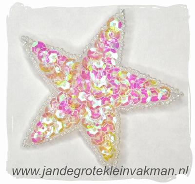 Applicatie ster met pailleten, opnaaibaar, wit, 75mm
