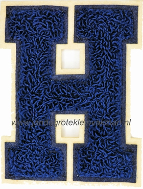 Baseball applicatie, letter H, blauw