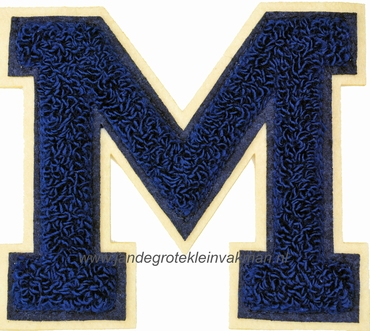 Baseball applicatie, letter M, blauw