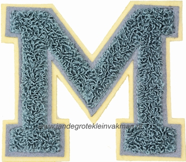 Baseball applicatie, letter M, grijs