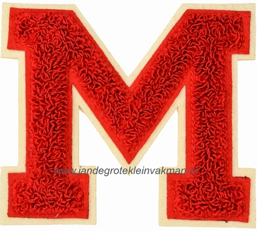 Baseball applicatie, letter M, rood
