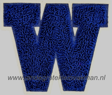 Baseball applicatie, letter W, blauw
