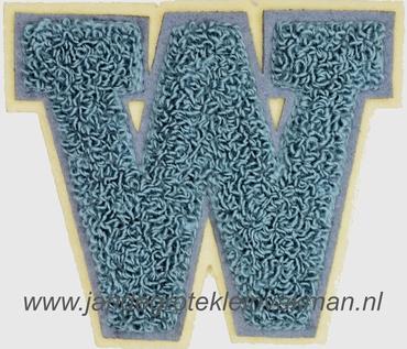 Baseball applicatie, letter W, grijs