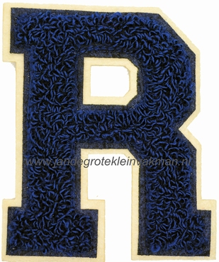 Baseball applicatie, letter R, blauw
