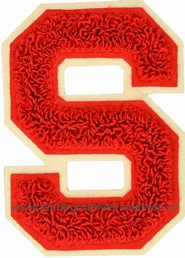 Baseball applicatie, letter S, rood