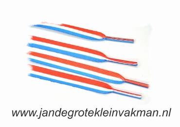 Veters, 112cm lang, 11mm breed, per 2 stuks, rood-wit-blauw