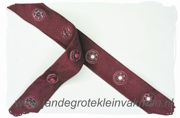 Drukkertjesband, 17mm breed, bordeaux, per meter