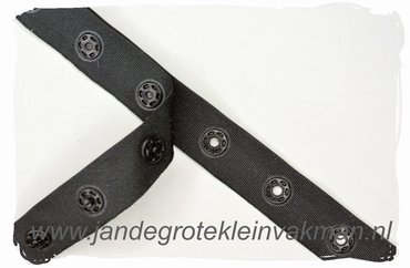 Drukkertjesband, 17mm breed, zwart, per meter