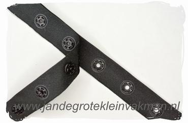 Drukkertjesband, 17mm breed, zwart, per meter