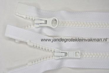 Dubbel deelb, bloktand, nylon, 80cm, kleur 501, wit