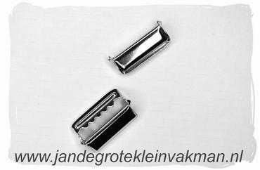 Bretel schuif, 25mm breed, zilverkleurig, 2 stuks