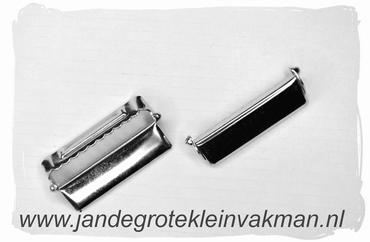 Bretel schuif, 35mm breed, zilverkleurig, 2 stuks