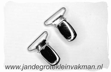 Bretel clip, 25mm breed, zilverkleurig, 2 stuks