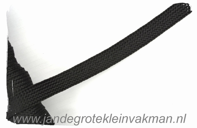 Veterband, synthetisch, 12mm breed, per meter, zwart