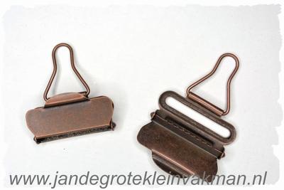 Tuinbroek (salopet) sluitingen, 40mm  breed, 2 stuks, brons